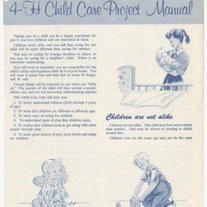 4-H Child Care Project Manual (Club Series 107, Reprint)