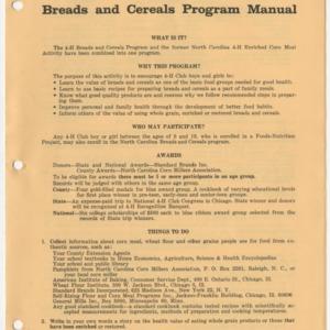 The North Carolina 4-H Breads and Cereals Program Manual (Club Series No. 157)