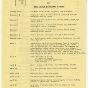 1986 North Carolina 4-H Calendar of Events