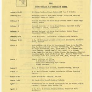 1986 North Carolina 4-H Calendar of Events