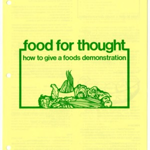 Food for thought: how to give a food demonstration (4-H Flyer 13-35, Reprint)
