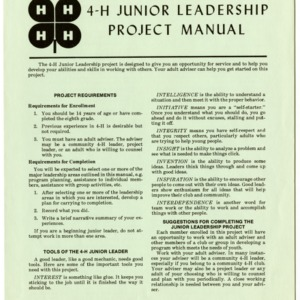4-H Junior Leadership Project Manual (4-H Manual 1-6)