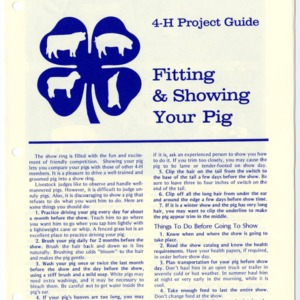 4-H Project Guide: Fitting & Showing Your Pig (4-H Manual 5-30)