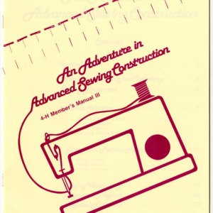 An Adventure in Advanced Sewing Construction: 4-H Member's Manual III (4H Manual 6-21)