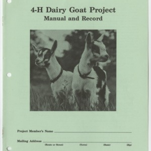 4-H Dairy Goat Project Manual and Record (4-H Manual 8-8)