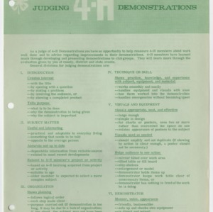 Judging 4-H Demonstrations (4-H Publication 0-1-1, Reprint)
