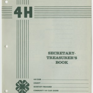 4H Secretary-Treasurer's Book (4-H Publication 0-1-2, Reprint)
