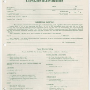 1977-1978 4-H Project Selection Sheet (4-H Publication 0-1-4, Revised 1977)