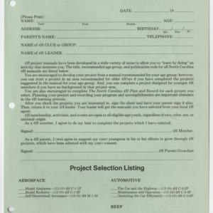 1979-1980 4-H Project Selection Sheet (4-H Publication 0-1-4, Reprint 10-1979-10M)