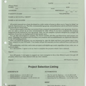 1979-1980 4-H Project Selection Sheet (4-H Publication 0-1-4, Reprint 12-1979-15M)