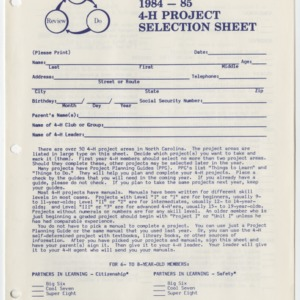 1984-1985 4-H Project Selection Sheet (4-H Publication 0-1-4, Revised 1984)