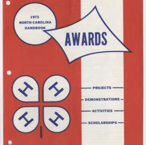 1973 North Carolina Handbook Awards (4-H Publication 0-1-10, Revised 1972)