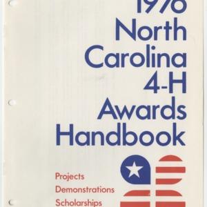 1976 North Carolina 4-H Awards Handbook (4-H Publication 0-1-10, Revised 01-1976)