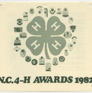 N. C. 4-H Awards 1982 (4-H Publication 0-1-10, Revised)