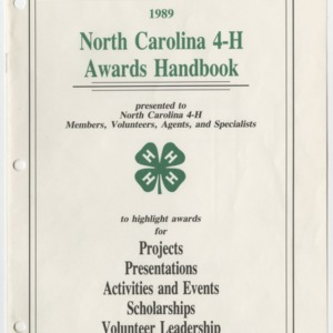 1989 North Carolina 4-H Awards Handbook (4-H Publication 0-1-10, Revised 1989-03)