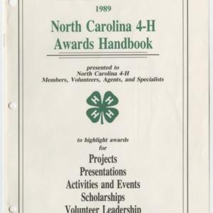 1989 North Carolina 4-H Awards Handbook (4-H Publication 0-1-10, Revised 1989-03)