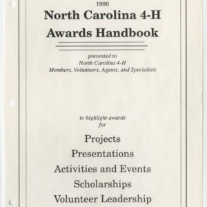1990 North Carolina 4-H Awards Handbook (4-H Publication 0-1-10, Revised 1989-12)