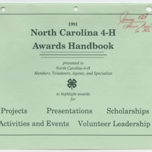 1991 North Carolina 4-H Awards Handbook (4-H Publication 0-1-10, Revised 1991-01)