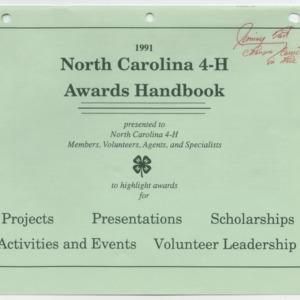 1991 North Carolina 4-H Awards Handbook (4-H Publication 0-1-10, Revised 1991-01)