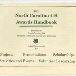 1992 North Carolina 4-H Awards Handbook (4-H Publication 0-1-10, Revised 1992-01)