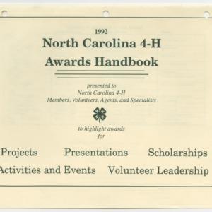 1992 North Carolina 4-H Awards Handbook (4-H Publication 0-1-10, Revised 1992-01)