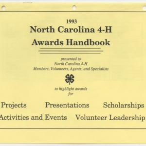 1993 North Carolina 4-H Awards Handbook (4-H Publication 0-1-10, Revised 1993-01)