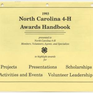 1993 North Carolina 4-H Awards Handbook (4-H Publication 0-1-10, Revised 1993-01)