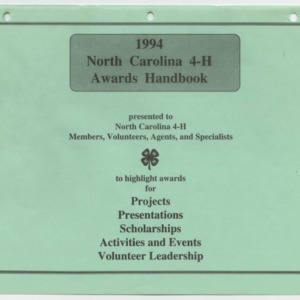 1994 North Carolina 4-H Awards Handbook (4-H Publication 0-1-10, Revised 1994)