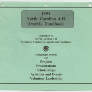 1994 North Carolina 4-H Awards Handbook (4-H Publication 0-1-10, Revised 1994)