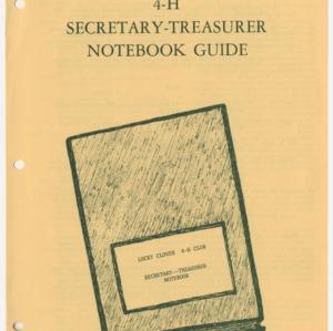 4-H Secretary-Treasurer Notebook Guide (4-H Publication 0-1-86)