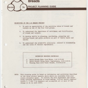 Breads Project Planning Guide (4-H Project Planning Guide 13-72)
