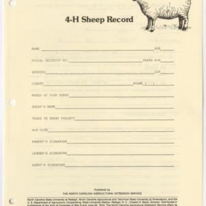 4-H Sheep Record (4-H Record 5-29)