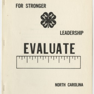For Stronger Leadership Evaluate North Carolina (4-H Miscellaneous)
