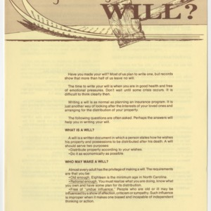Have You Made Your Will? (Home Extension Publication 9, Revised)