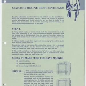 Making Bound Buttonholes  (Home Extension Publication 10, Reprint)
