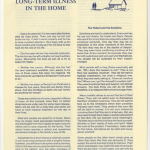 Long-Term Illness in the Home (Home Extension Publication 64, Reprint)