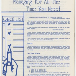 Managing for All the Time You Need (Home Extension Publication 71, Reprint)