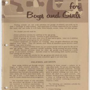 Arts and Crafts for Boys and Girls (Home Extension Publication 77)