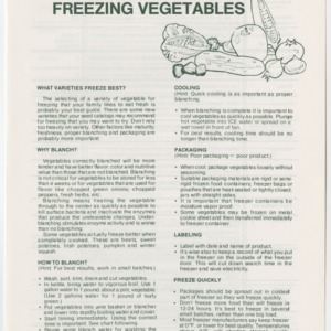 Brief Instructions for Freezing Vegetables (Home Extension Publication 86)