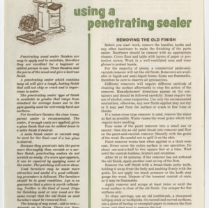(HE 145) Furniture Finishing: Using a Penetrating Sealer