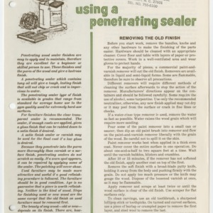 (HE 145) Furniture Finishing: Using a Penetrating Sealer (Reprint)