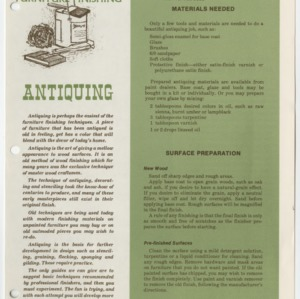 (HE 146) Furniture Finishing: Antiquing (Reprint)