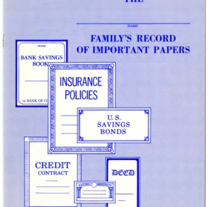 The family's record of important papers (Home Extension Publication 166, Reprint)