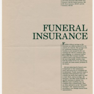 Funeral insurance (Home Extension Publication 226)