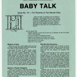 Baby talk: issue no. 10 - for parents of ten-month-olds (Home Extension Publication 242-10)