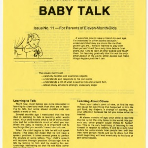 Baby talk: issue no. 11 - for parents of eleven-month-olds (Home Extension Publication 242-11)