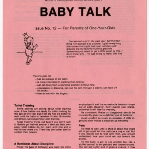 Baby talk: issue no. 12 - for parents of one-year-olds (Home Extension Publication 242-12)