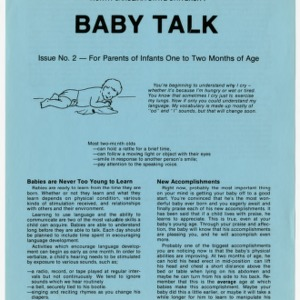 Baby talk: issue no. 2 - for parents of infants one to two months of age (Home Extension Publication 242-2)