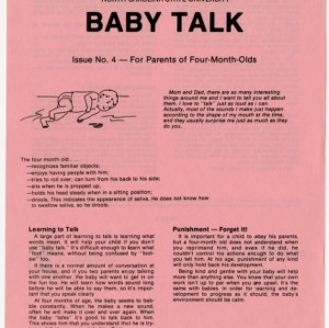 Baby talk: issue no. 4 - for parents of four-month-olds (Home Extension Publication 242-4)