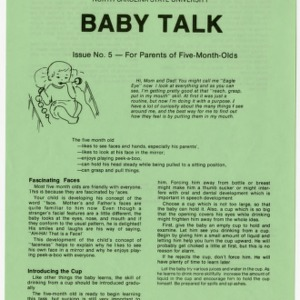 Baby talk: issue no. 5 - for parents of five-month-olds (Home Extension Publication 242-5)